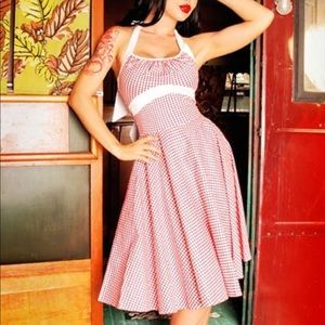 Pinup Couture Gingham Halter Dress - Size Small